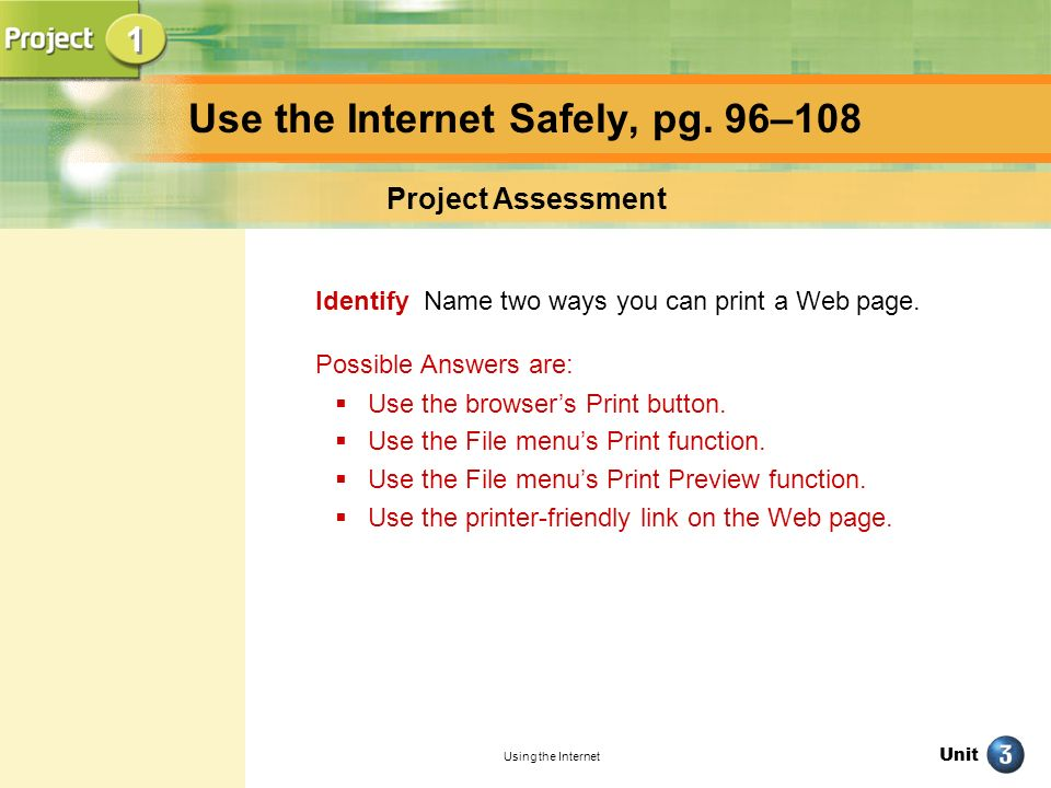 Use the Internet Safely, pg. 96–108