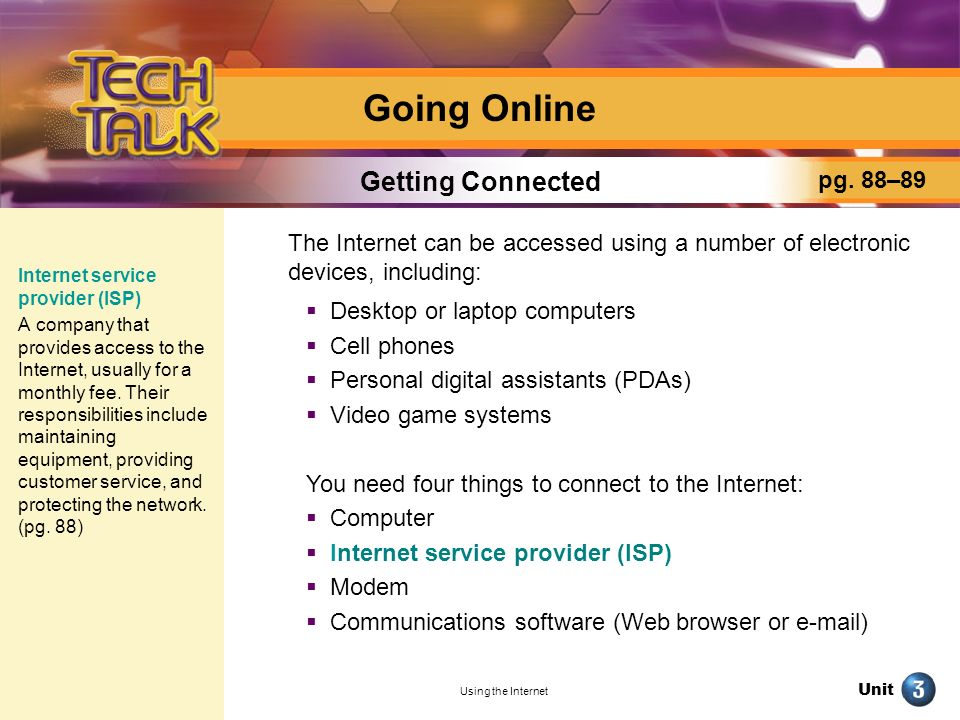 Going Online Getting Connected pg. 88–89