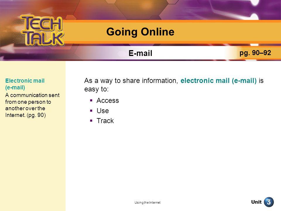 Going Online E-mail pg. 90–92