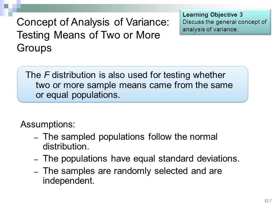 Concept of Analysis of Variance: Testing Means of Two or More Groups