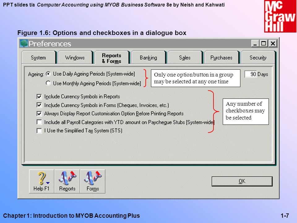Figure 1.6: Options and checkboxes in a dialogue box