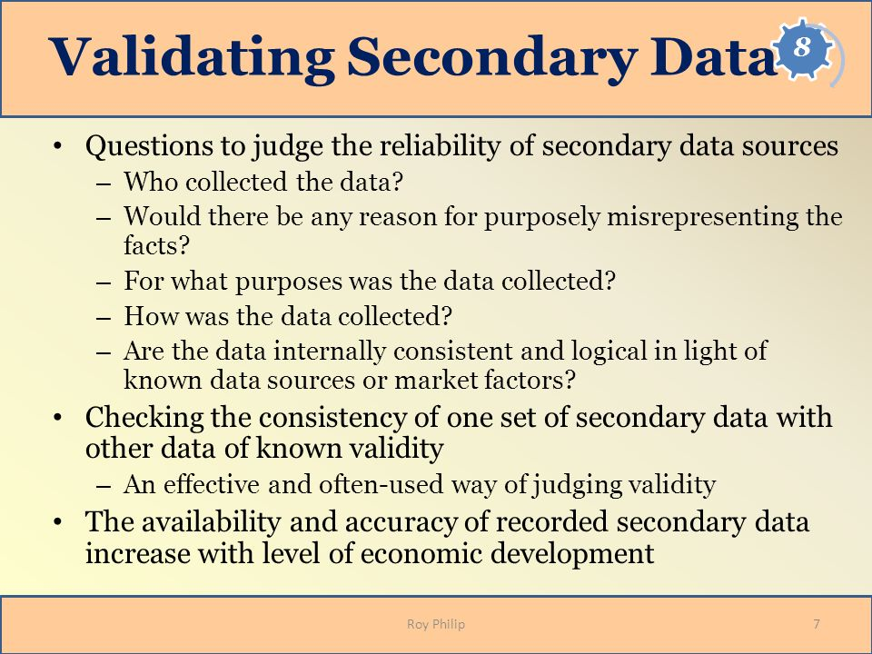 Validating Secondary Data