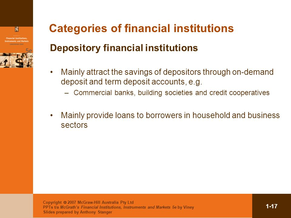 Categories of financial institutions