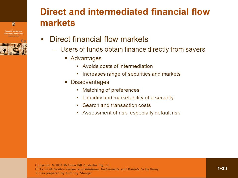 Direct and intermediated financial flow markets