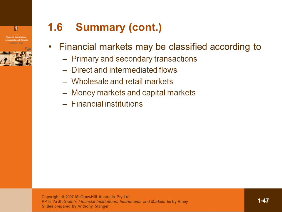 1.6 Summary (cont.) Financial markets may be classified according to