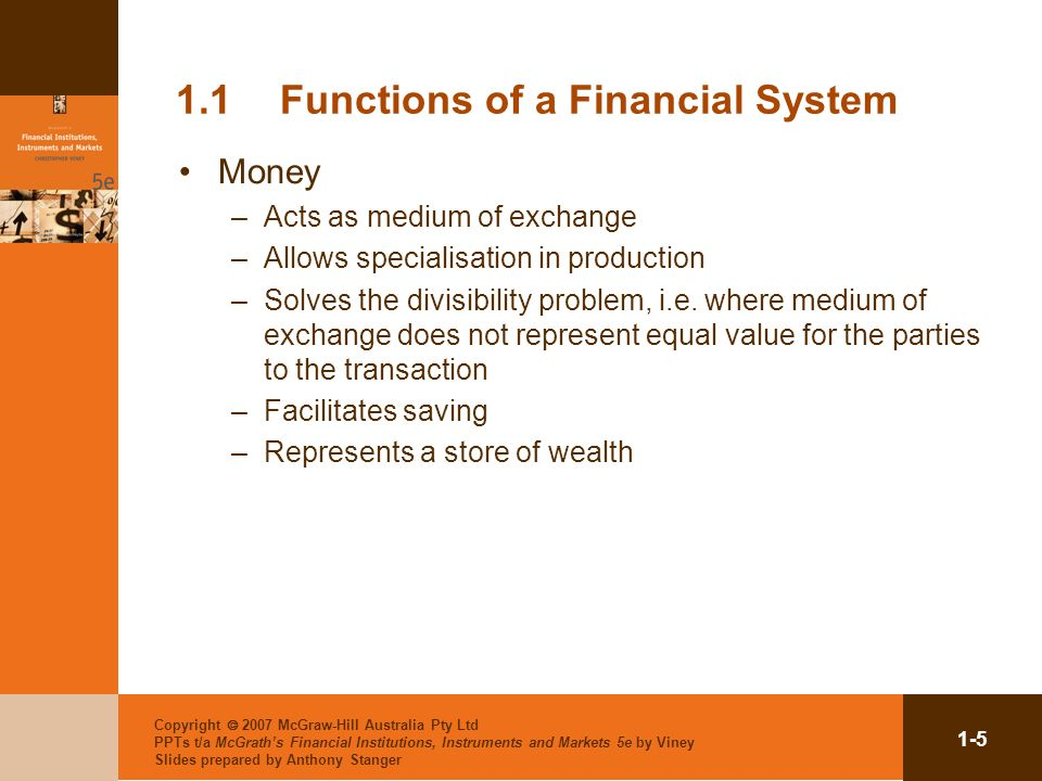 1.1 Functions of a Financial System