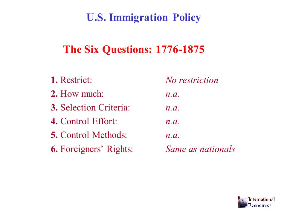 U.S. Immigration Policy The Six Questions: 1776-1875