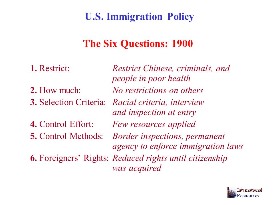 U.S. Immigration Policy The Six Questions: 1900
