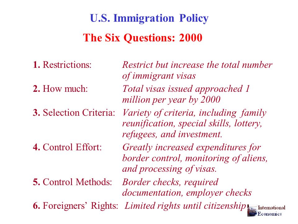 U.S. Immigration Policy The Six Questions: 2000