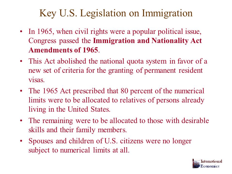 Key U.S. Legislation on Immigration