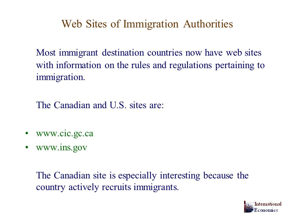 Web Sites of Immigration Authorities