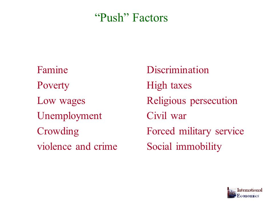 Push Factors Famine Discrimination Poverty High taxes