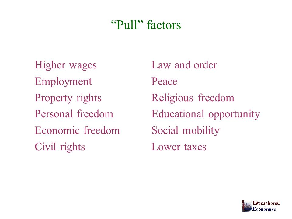 Pull factors Higher wages Law and order Employment Peace