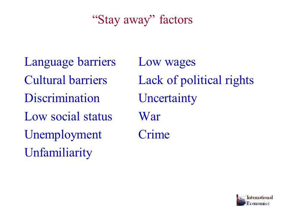 Stay away factors Language barriers Low wages. Cultural barriers Lack of political rights. Discrimination Uncertainty.