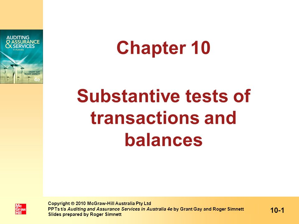Chapter 10 Substantive tests of transactions and balances