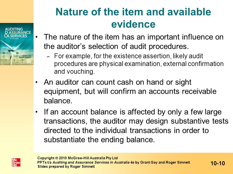 Nature of the item and available evidence