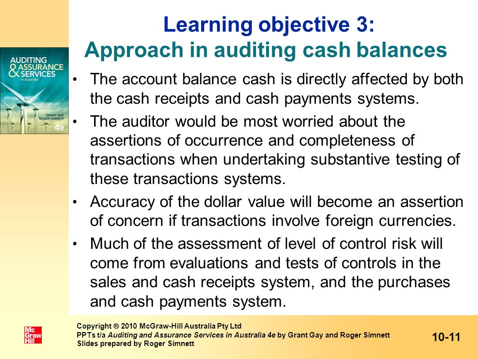 Learning objective 3: Approach in auditing cash balances