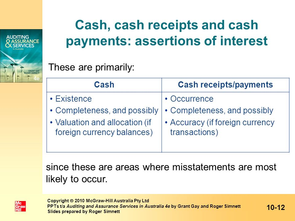 Cash, cash receipts and cash payments: assertions of interest
