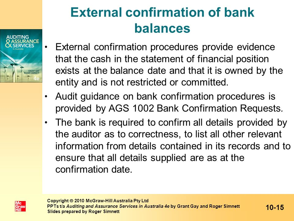 External confirmation of bank balances