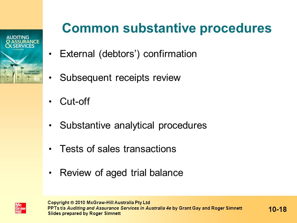 Common substantive procedures