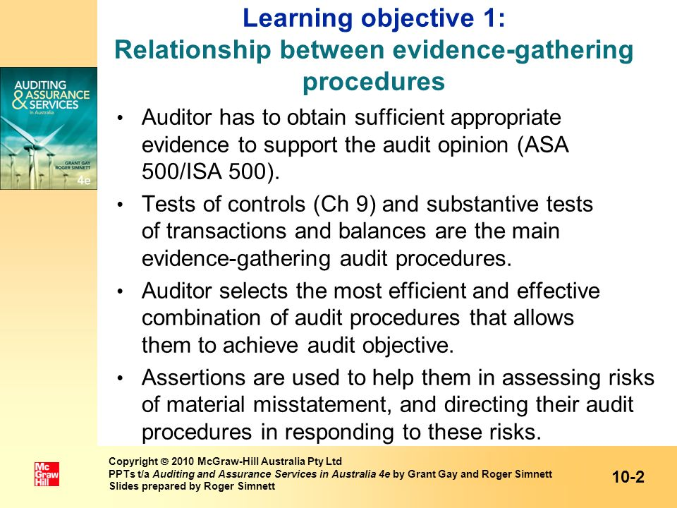 Learning objective 1: Relationship between evidence-gathering procedures