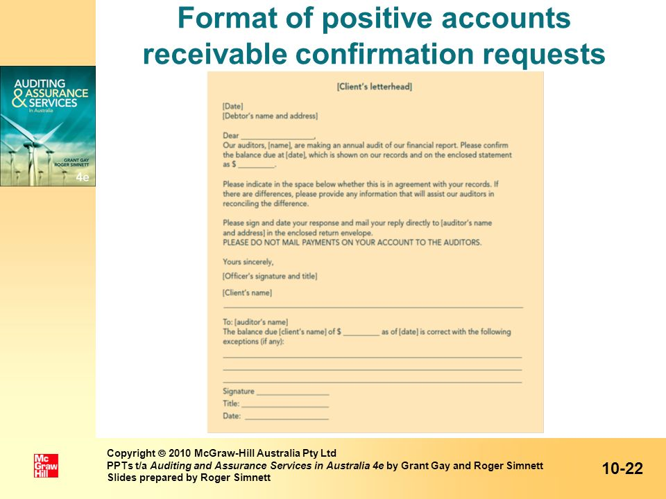 Format of positive accounts receivable confirmation requests