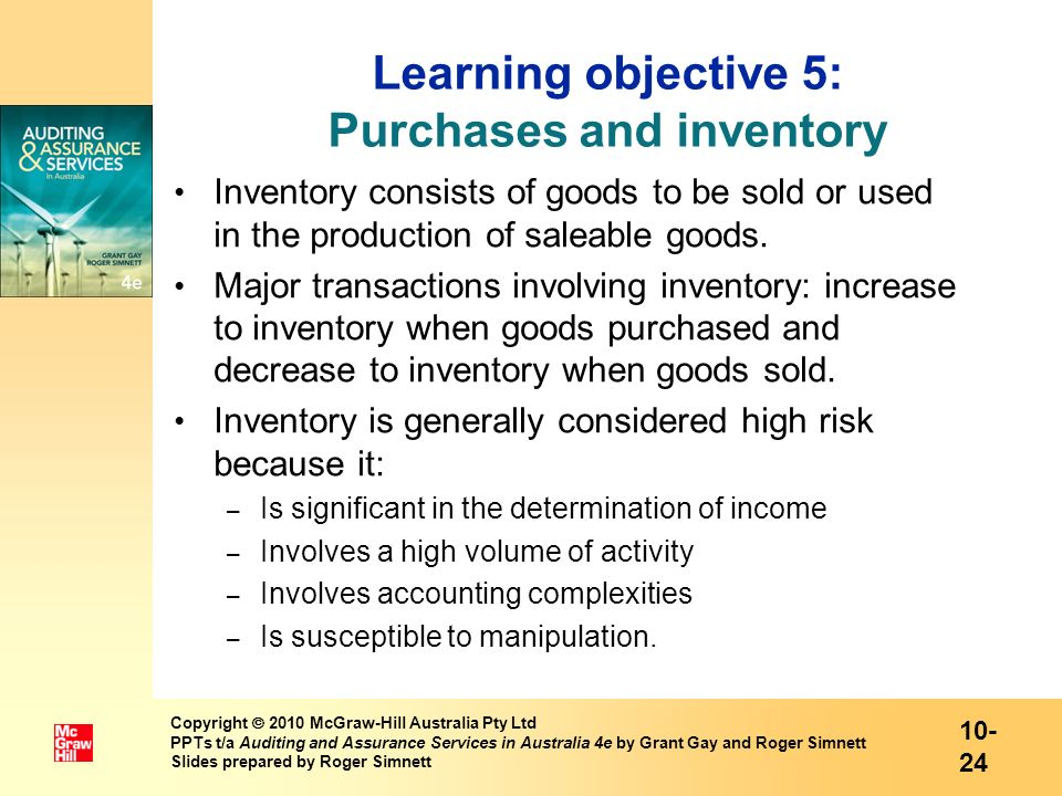 Learning objective 5: Purchases and inventory