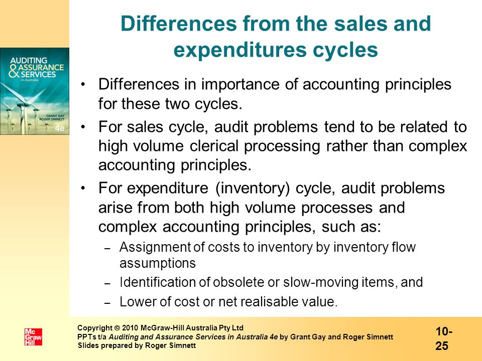 Differences from the sales and expenditures cycles