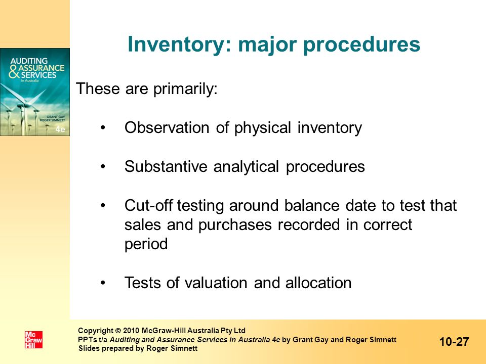 Inventory: major procedures
