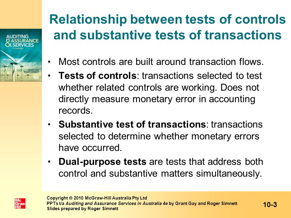 Relationship between tests of controls and substantive tests of transactions
