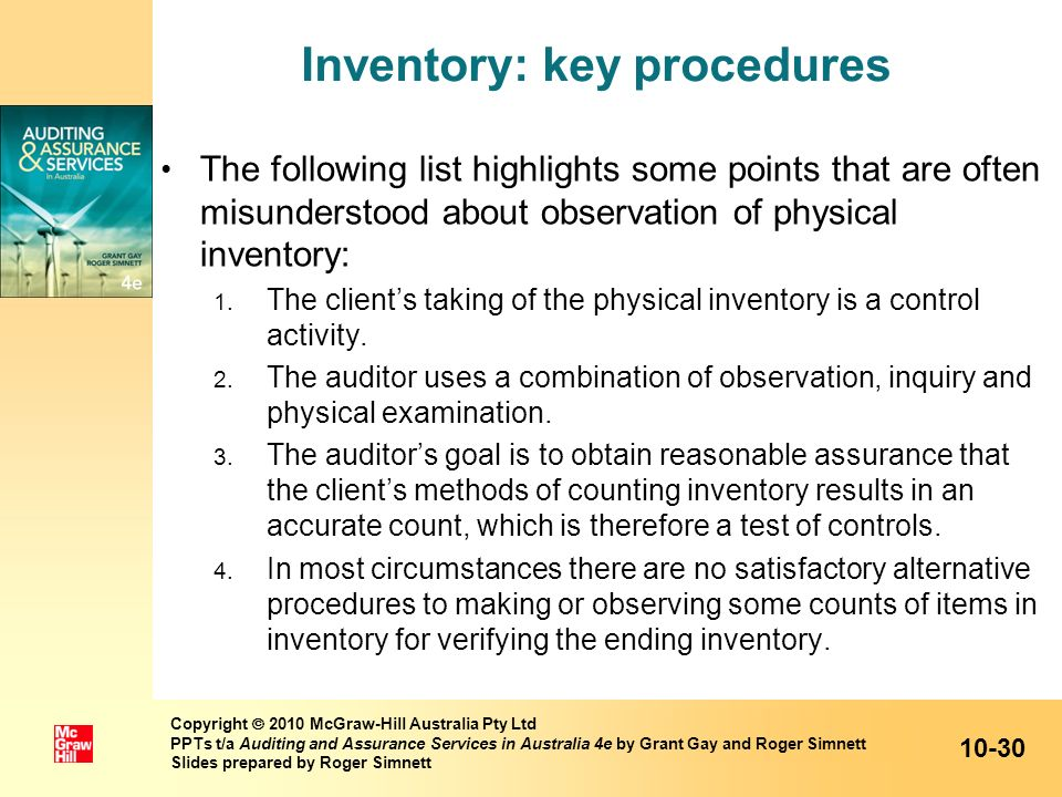 Inventory: key procedures