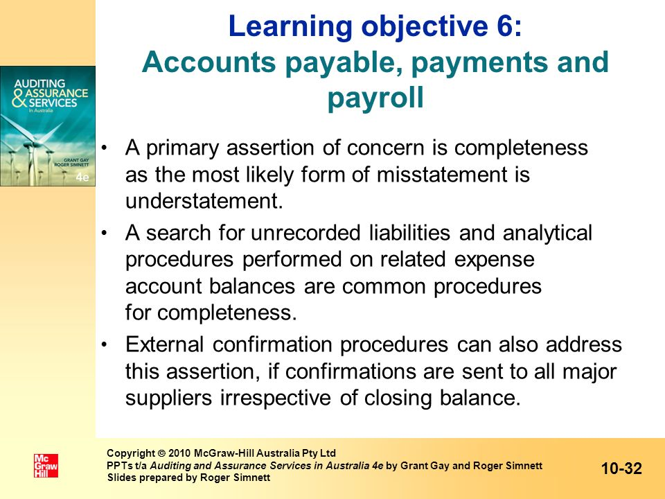 Learning objective 6: Accounts payable, payments and payroll