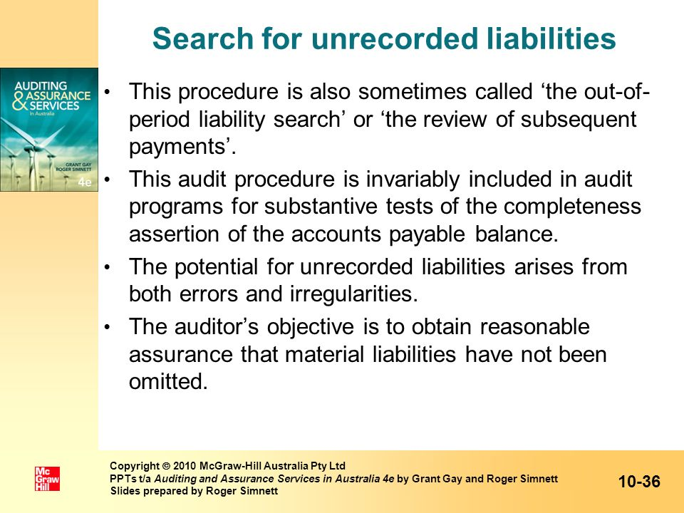 Search for unrecorded liabilities