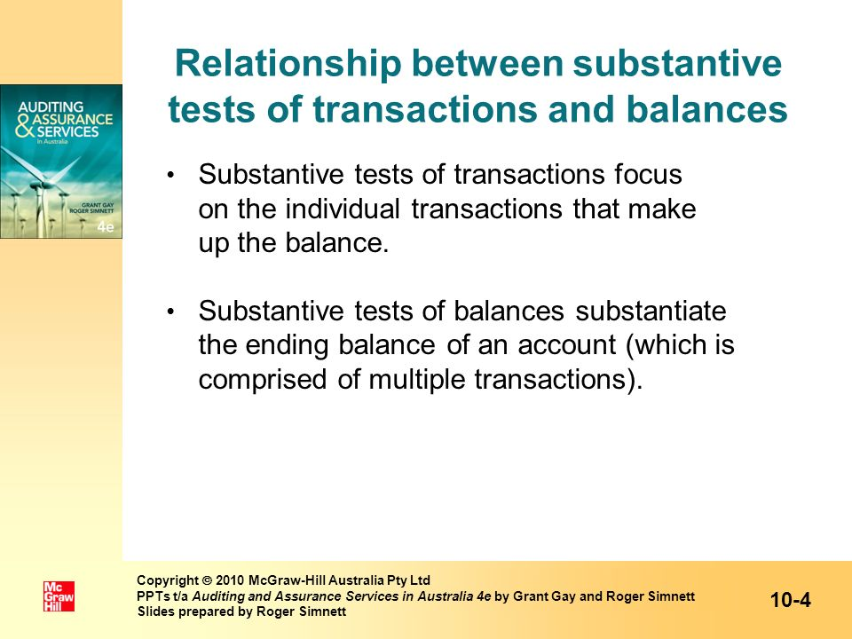 Relationship between substantive tests of transactions and balances