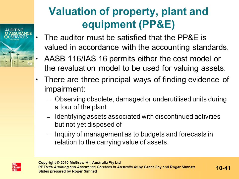 Valuation of property, plant and equipment (PP&E)
