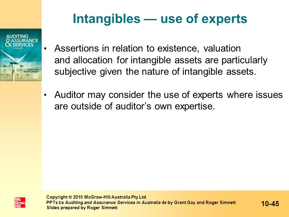 Intangibles — use of experts