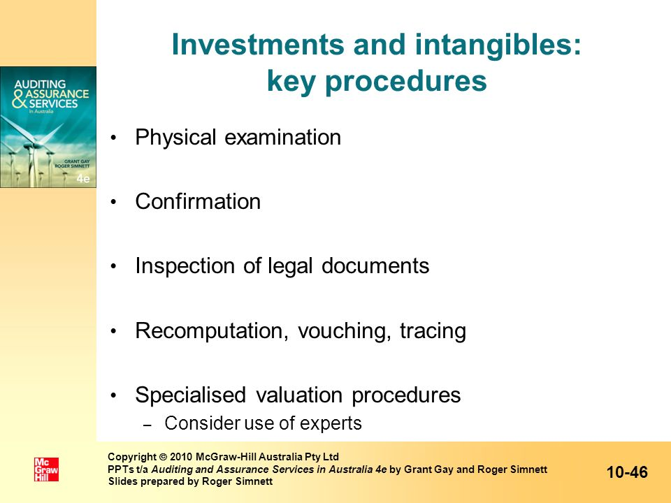 Investments and intangibles: key procedures