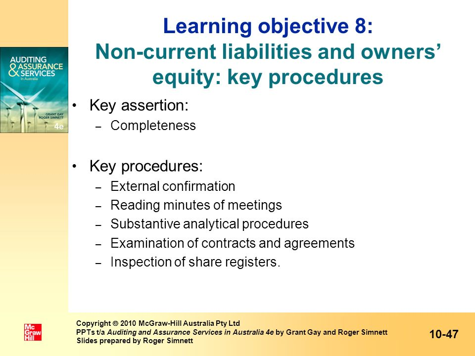 Learning objective 8: Non-current liabilities and owners' equity: key procedures