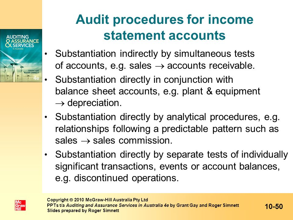 Audit procedures for income statement accounts