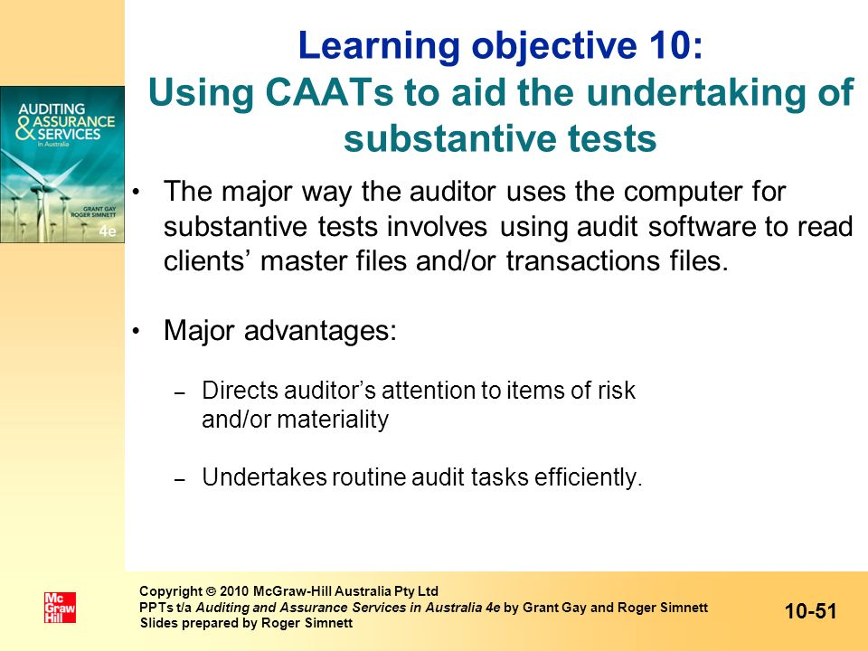 Learning objective 10: Using CAATs to aid the undertaking of substantive tests