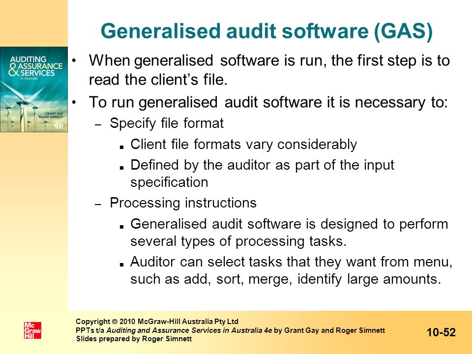 Generalised audit software (GAS)
