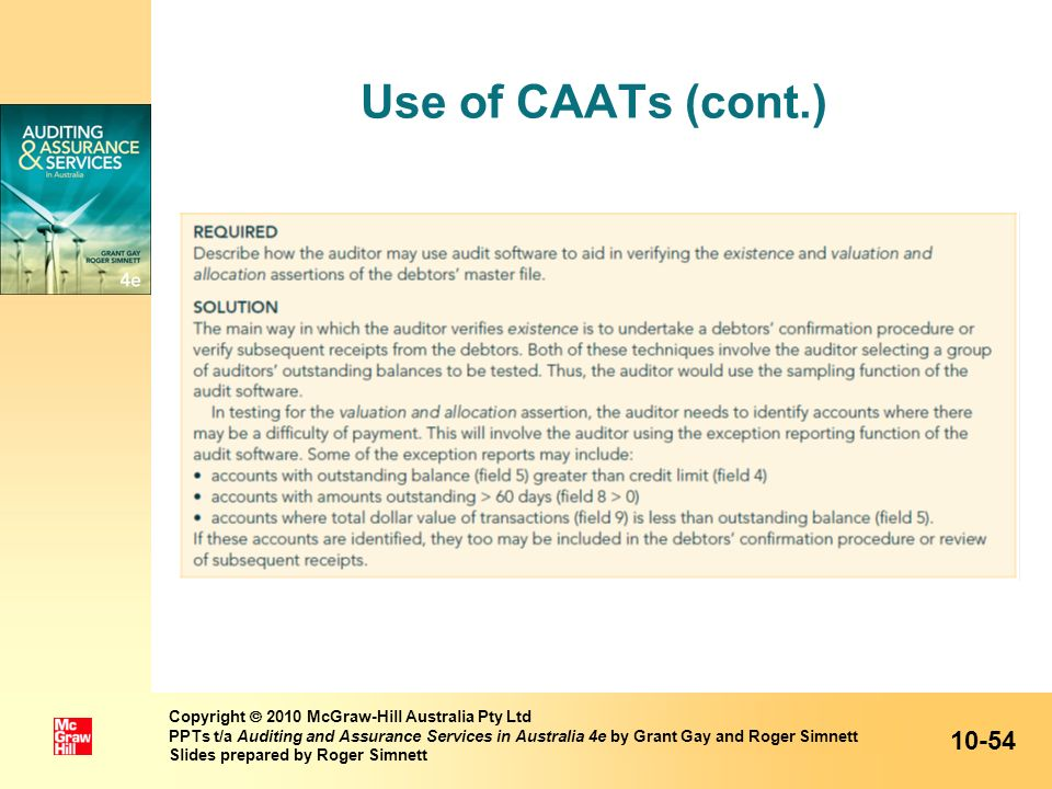 Use of CAATs (cont.)