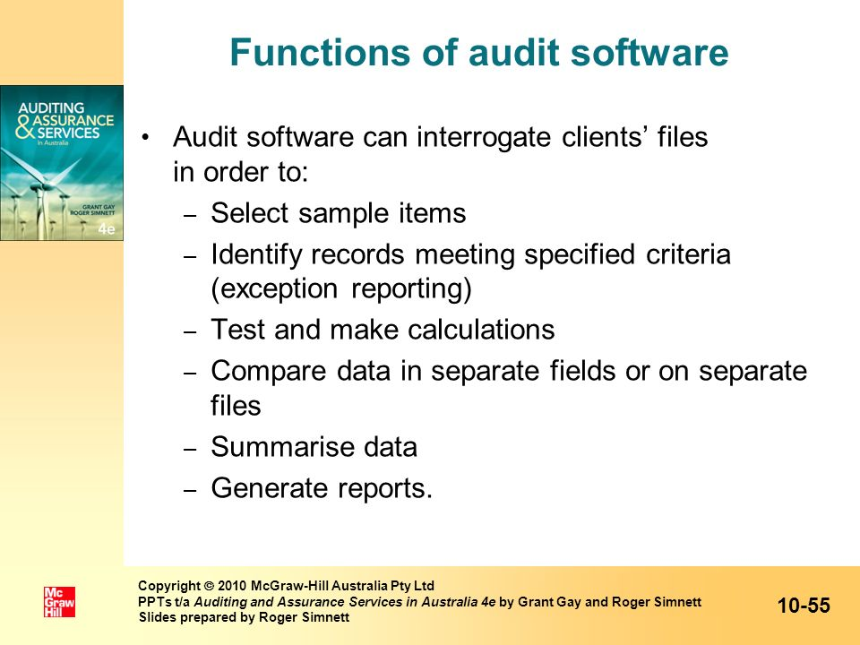 Functions of audit software