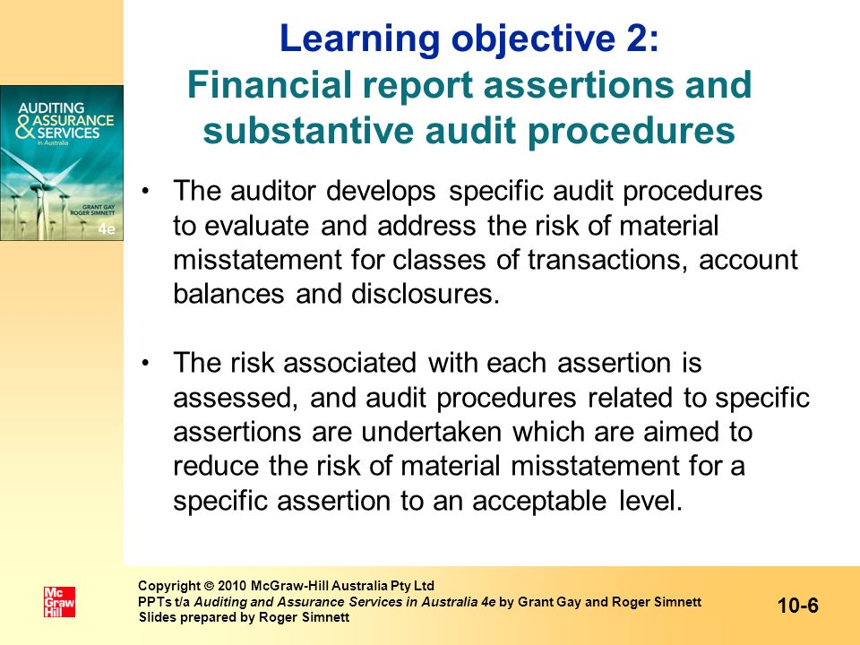 Learning objective 2: Financial report assertions and substantive audit procedures