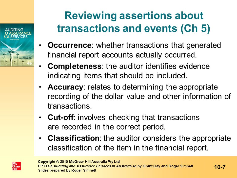 Reviewing assertions about transactions and events (Ch 5)