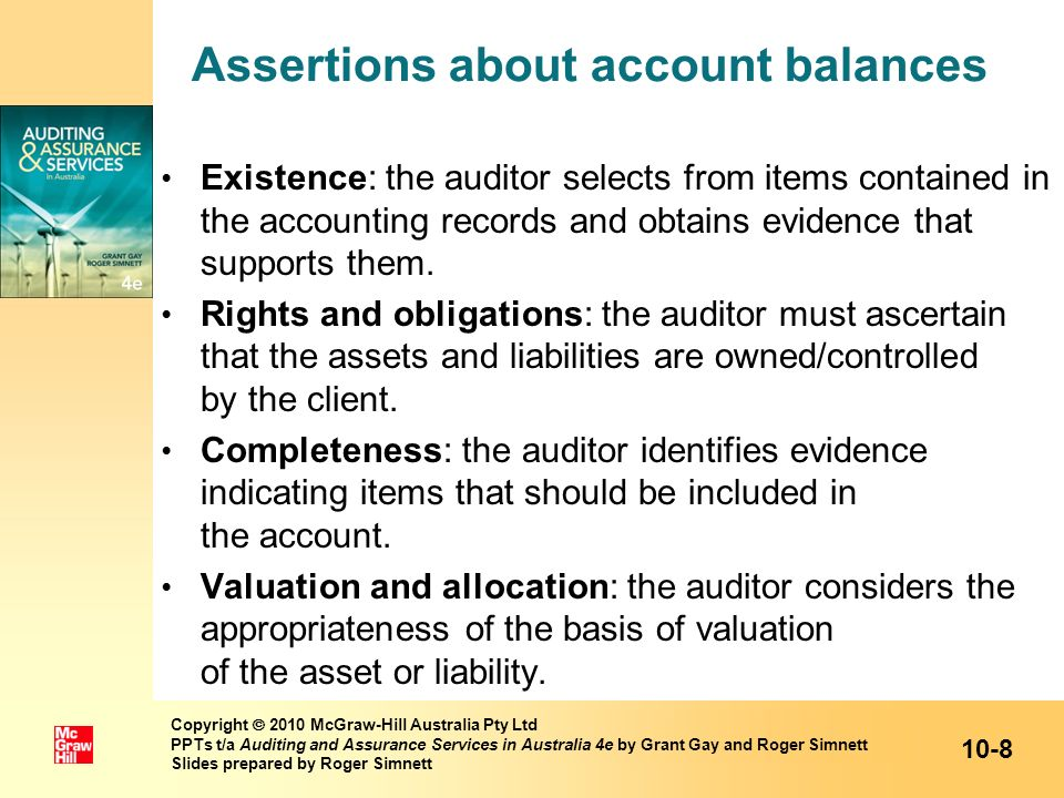 Assertions about account balances