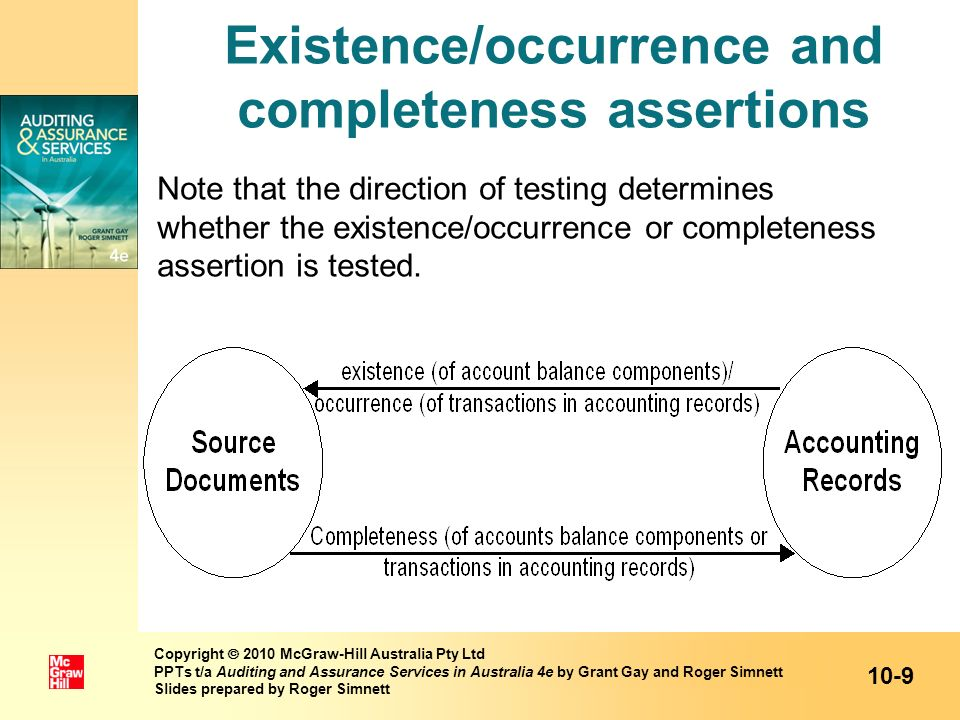 Existence/occurrence and completeness assertions