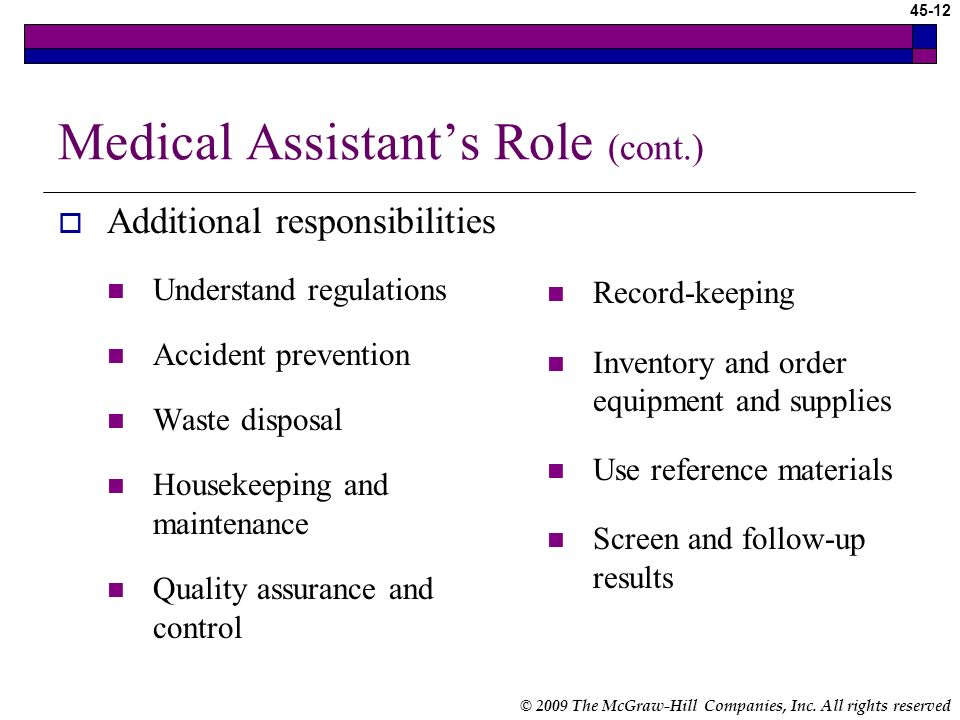 Medical Assistant's Role (cont.)