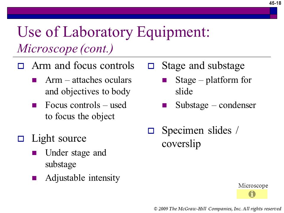 Use of Laboratory Equipment: Microscope (cont.)