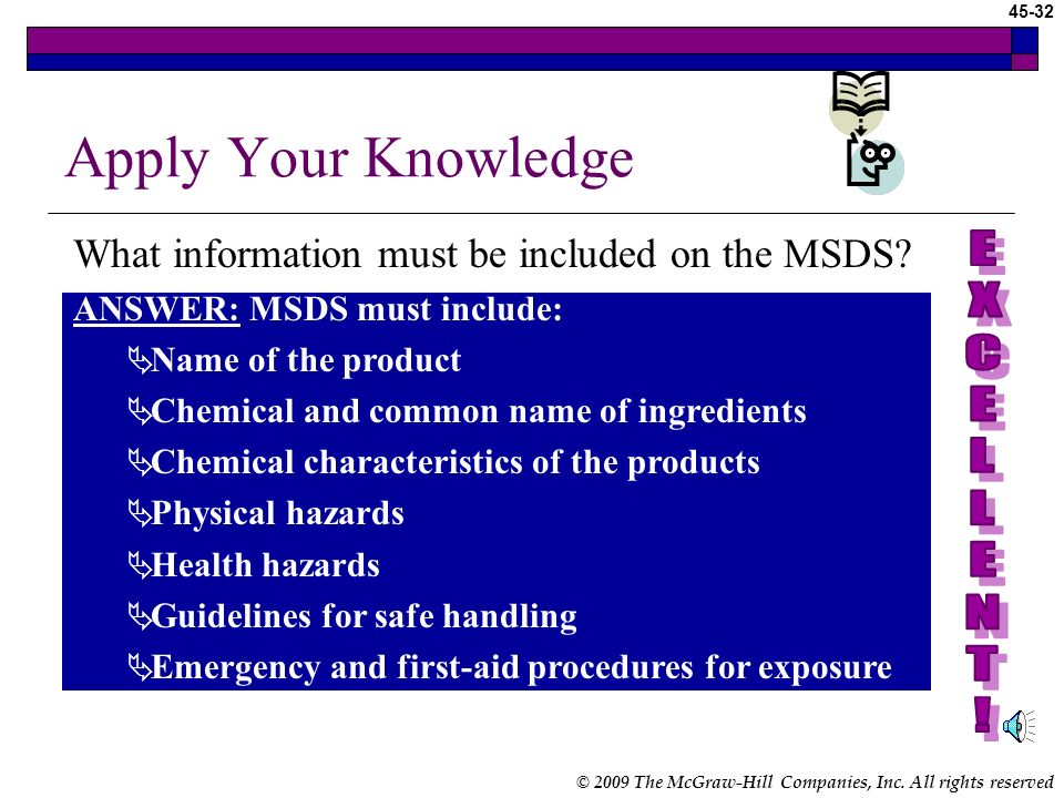Apply Your Knowledge What information must be included on the MSDS E